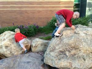 Climbing rocks.